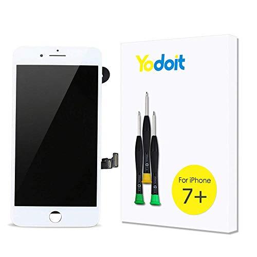 Yodoit para iPhone 7 Plus Blanco LCD Pantalla y Digitalizador Pantalla Táctil de Cristal Reemplazo con (Cámara Frontal, Sensor Flex, Escudo de Placa, Altavoz Auricular)+ Herramienta