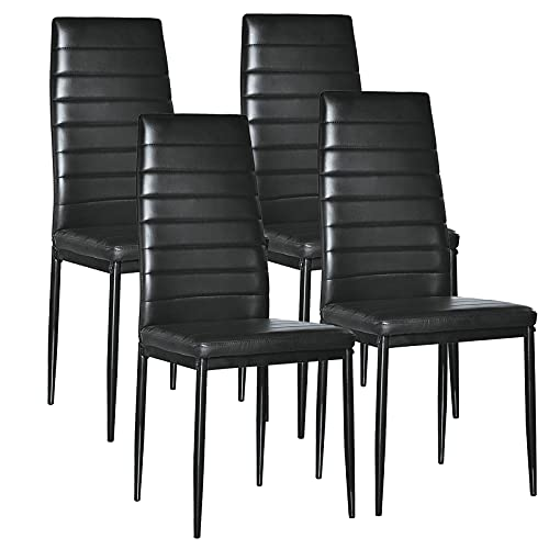 PU Leather Dining Chairs Set of 4, Ergonomic Curved Highh Back Kitchen Side Chairs with Upholstered Cushion, Steel Frame and Foot Protection, for Kitchen Dining Room Living Room