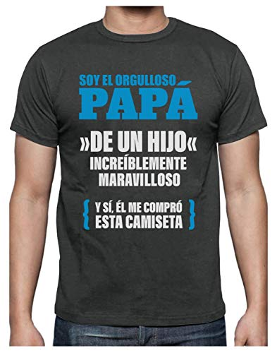 Camiseta para Hombre - Regalos para Hombre, Regalos para Padres. Camisetas Hombre Originales Divertidas - Orgulloso Papá de un Hijo Increíble XX-Large Gris Antracita