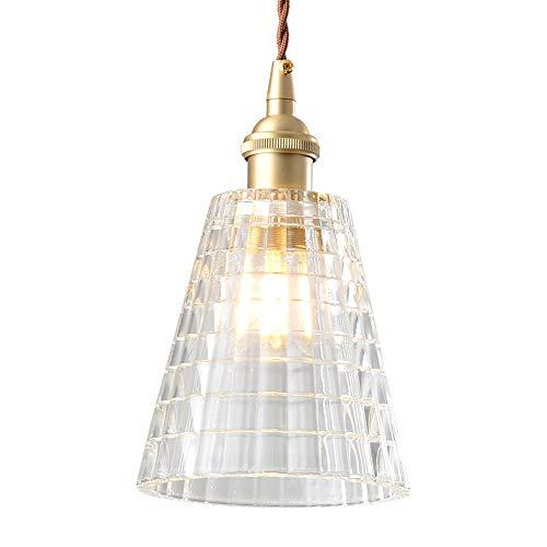 SISVIV Luz Vintage Lámpara Colgante Industrial Iluminación de Techo Nórdico Moderno Casquillo E27, Cristal Para Dormitorio Cocina Restaurante Comedor Latón