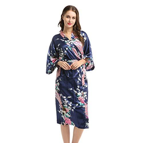 Crazy Cart Bata de Dormir Largo Kimono Satinado