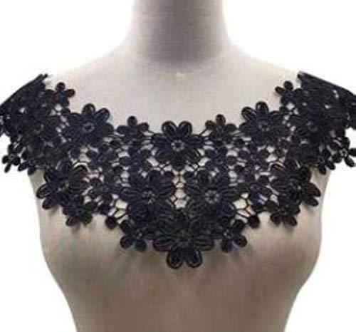 HOT collar de encaje de flores de bordado de algodón de oro blanco negro Apliques de costura de tela Cinta de guipur DIY decoración de la boda de escote, negro