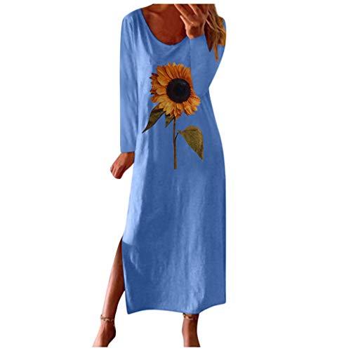 Vectry Damen Strandkleid T-Shirt-Kleid mit Sonnenblumendruck Lange Kleider Loses Leinenblusenkleid Kurzärmliges Freizeitkleid Seitlich Geteiltes Midikleid Cover Up Kleid (XXXXL, Z-Blau)