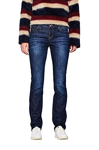 edc by ESPRIT Damen Stretch Organic Cotton Straight Jeans, Blue Dark Wash 901, 33W / 34L