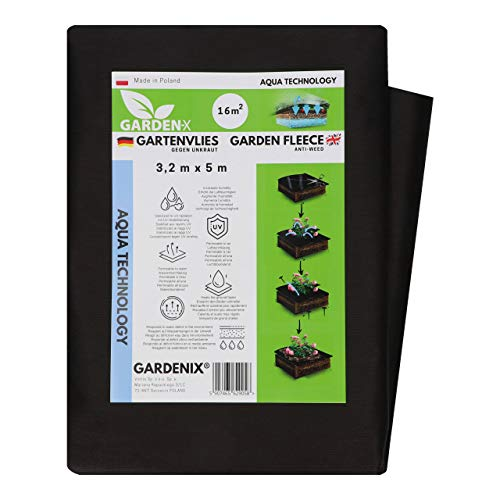 GARDENIX® 16 m² Tela para Control de maleza Aqua con Alta Permeabilidad al Agua, 50g/m² de jardín vellón de protección contra malezas Alta estabilización UV (3,2m x 5m)