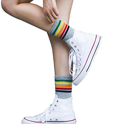 VJGOAL Mujer Otoño E Invierno Moda casual Color sólido Rayado Color Algodón Cálido Transpirable Sox Medias medias calcetines