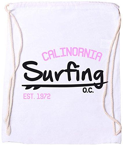EZYshirt Surfing California Baumwoll Stoffbeutel