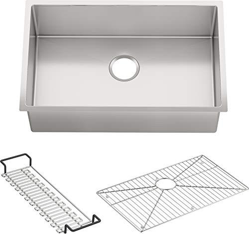 KOHLER K-5409-NA Strive 29-Inch x 18-5/16-Inch Undermount Medium SingleBowl Kitchen Sink with Basin Rack, Stainless Steel