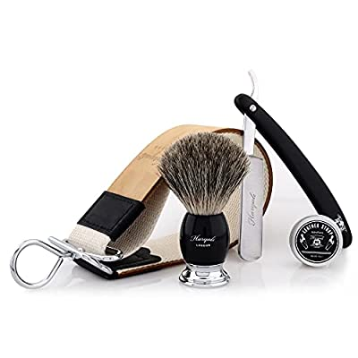 Haryali London Shaving Kit – 4 Pc Shaving Kit - Straight Razor – Best Badger Shaving Brush - Elegant Leather Strop – Honning Compound - Vintage Style Shaving Set as a Gift