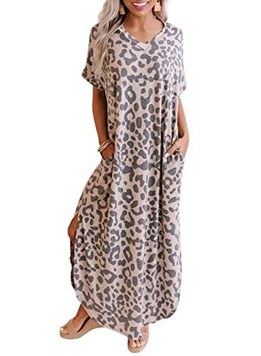 CORAFRITZ Women Maxi Dress Sexy V Neck Short Sleeve Leopard Print Sundress Casual Loose Summer Bohemia Long Dresses Patchwork Color Block for Beach Party Cocktail