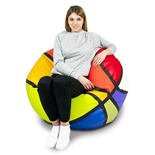 Italpouf Pouf Ecopelle Grande Basket, Pouf Sacco Basket, Pouf Pallone Basket Colorato, Poltrona Sacco Pallone Basket (colorato)