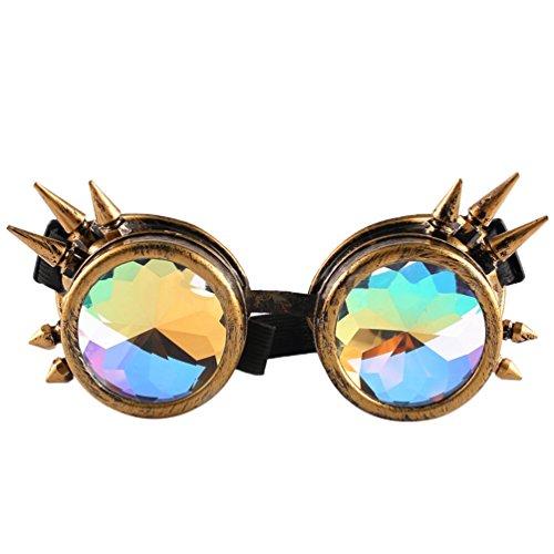 Byqny Jahrgang Rave Festival Party EDM Mosaik Gläser Regenbogen Prisma Diffraktion Cosplay Nieten Steampunk Goth Stil Kaleidoskop Brille