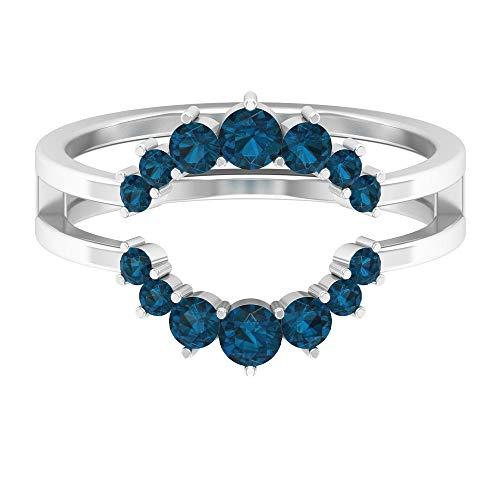 Anillo de topacio azul londinense de 1 ct, anillo de novia, anillo minimalista de doble corona, anillo de compromiso de oro (calidad AAA), 14K Oro blanco, Size:EU 70