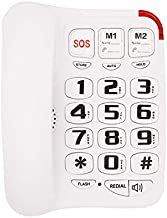 Big Button Corded Phone with 3 One-Touch Speed Dial, HePesTer P-45 Picture Care Phone for Seniors with Memory Protection/Wall Mountable/SOS Emergency
