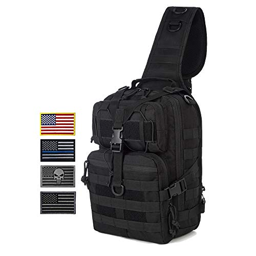 J.CARP Tactical EDC Sling Bag Pack, Military Rover Shoulder Molle Backpack, with 4 Patches, Black