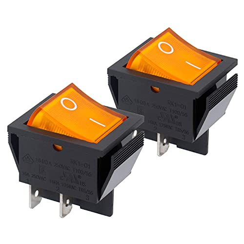 Heschen - Interruptor basculante DPST de encendido y apagado, 4terminales, luz amarilla, 16A, 250V CA, 2unidades