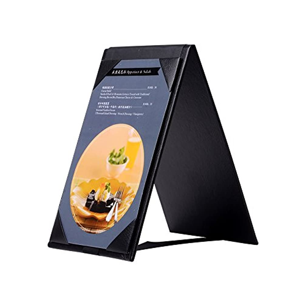 5PCS Leather Table Tent Menu Holder Menu Sign Display Covers for cafes bars or Restaurant Black (6''×4'' inch)