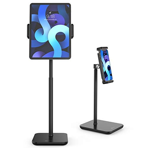 "Tounee Tablet Stand, Heavy Duty Aluminum Tablet Holder Mount with Adjustable Height from 11.6"" to 19.2"", Compatible with iPad Mini Air Pro 12.9, Galaxy Tab, Kindle, Cell Phones (4.7''-12.9'') - Black…"