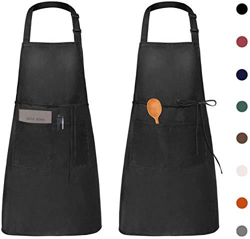 Viedouce 2 Pack Tabliers de Cuisine Etanche,Noir Tablier Réglable avec Poches pour Cuisine Familial,Restaurant,Jardin,Tablier pour Serveurs,Serveuse