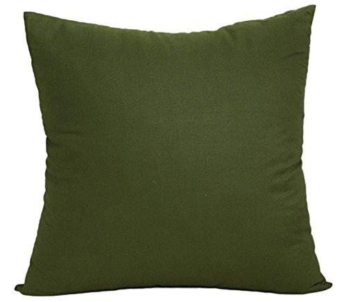 gespout cuadrado funda para cojín de lentejuelas color sólido simple algodón fundas de almohada Cafe decoración para el hogar sin núcleo 45x 45cm, algodón, verde oliva, 45*45cm