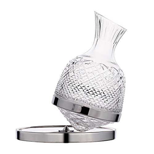 MagiDeal Tumbler Design Decanter per Vino, Girevole a 360°, Lussuoso Decanter in Cristallo, bevitore per liquori, Bicchiere di Cristallo, per Gli Amanti del