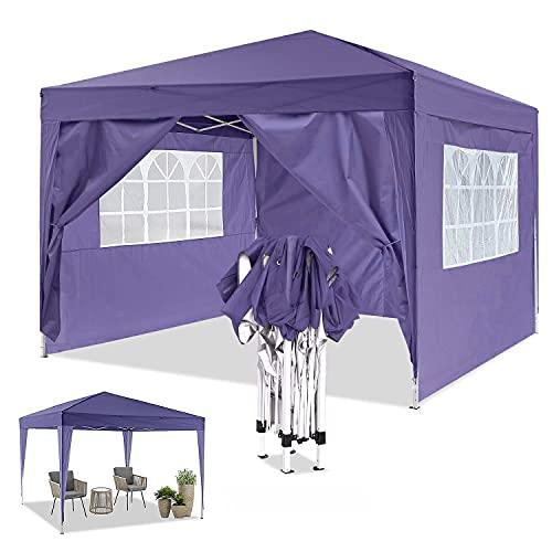 YUEBO Gazebo 3x3 m Carpas Plegables Impermeables con 4 Laterales Carpa Protección UV Pergola Plegable Cenador Camping Cenadores para Jardin,Terraza,Exterior