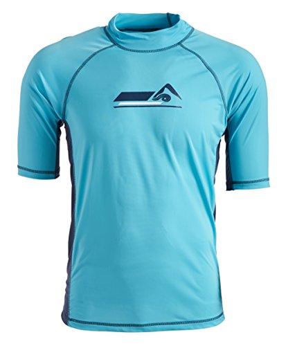 Kanu Surf Men's Fiji UPF 50+ Short Sleeve Sun Protective Rashguard Swim Shirt, Hangout Aqua, Large