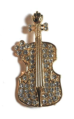 FizzyButton Gifts goudkleurig cello viool viool strassbroche, badge sjaal pin