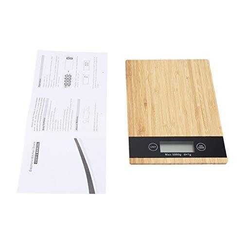 Báscula de pesaje de bambú Pantalla LED Báscula de cocina eléctrica Báscula de cocina de alimentos Báscula de pesaje de bambú