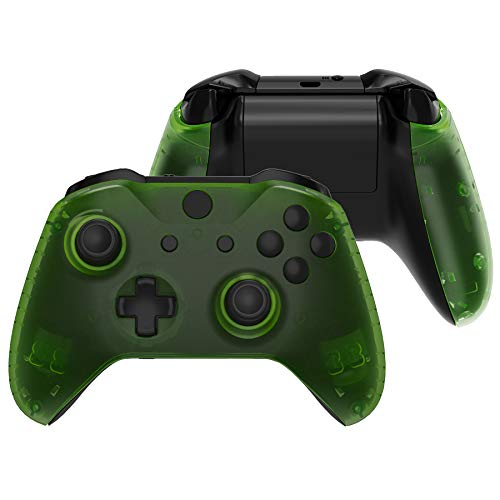 eXtremeRate Transparent Clear Green Faceplate Side Rails for Xbox One Wireless Controller Model 1708, Replacement Front Housing Shell Panels for Xbox One X & One S Controller
