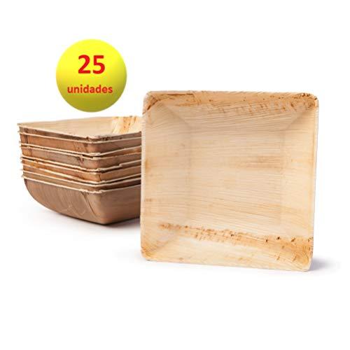 Plato de Hoja de Palmera. 100% orgánico Biodegradable compostable sostenible y ecológico. Ideal para Bodas Fiestas cumpleaños y Eventos. Cuadrado. 25 unidades (18 x 18 cm)