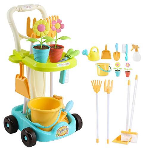 deAO Carretilla y Herramientas de Jardín para Niños y Niñas Juego de Botánica y Jardinería Infantil Conjunto Incluye Carrito, Accesorios y Macetas