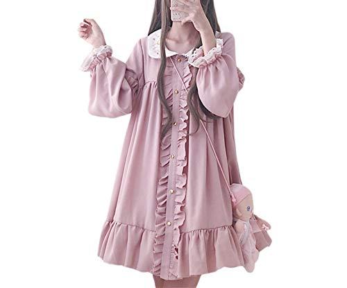Without logo ZCPCS 2020 Vestido de Verano Mujeres Harajuku Rosa Ladies Rompe Rompe Reloj Kawaii Vestidos Lolita Cosplay Dulce Vestidos Flojos (Color : Dark Pink, Size : One Size)