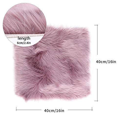Hot koop faux schapenvacht stoel cover warme harige wol tapijt zitkussen lange huid bont vlakte pluizige karpetten, paars 40x40 cm