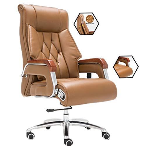 Stühle Boss Bürostuhl Reclining Computer Leder Massagesessel Studie Drehstuhl Startseite Drehstuhl E-Sport Drehstuhl Mobiliar (Color : Beige, Size : 70 * 70 * 112cm)