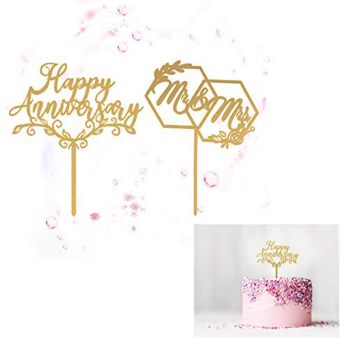 Hivexagon Torta Anniversario Felice, Sig.Ra Sig.Ra Cake Topper, Topper Anniversario Matrimonio, Decorazioni Anniversario, Decorazione Torta Anniversario.