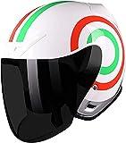 LUOQI Estilo retro medio casco motocicleta cara abierta unisex visera de liberación rápida hebilla Cruiser scooter Racer Motocross trajes hombres mujeres-XL_E