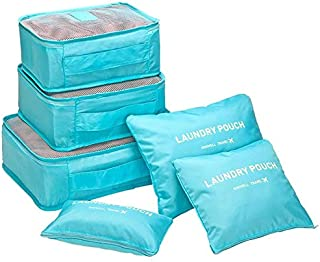 Go2buy 6pcs Travel Luggage Organizer Set Backpack Storage Pouches Suitcase Packing Bags (Light Blue)