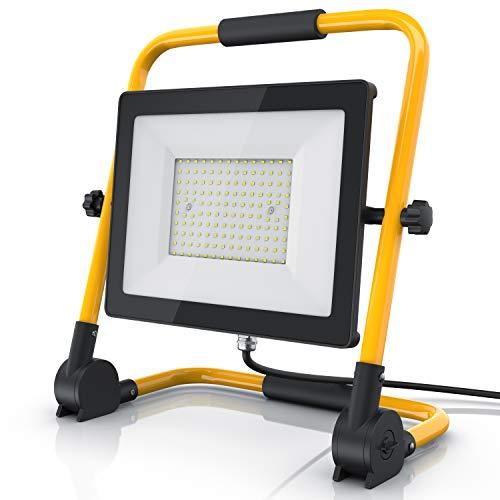 Brandson - 100 Watt LED Baustrahler - Arbeitsscheinwerfer - Bauscheinwerfer - 140 SMD LEDs - Standgestell und Tragegriff - 9500 Lumen – 4 m Stromkabel - Metallgehäuse - IP65