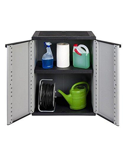 Kreher Kunststoffschrank, Balkonschrak mit einem höhenverstellbaren Boden und abschließbaren Türen. In Grau. Maße ca. 67 x 38 x 85 cm.