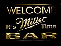 Miller It's Miller Time Welcome Bar LED看板 ネオンサイン ライト 電飾 広告用標識 W30cm x H20cm イエロー