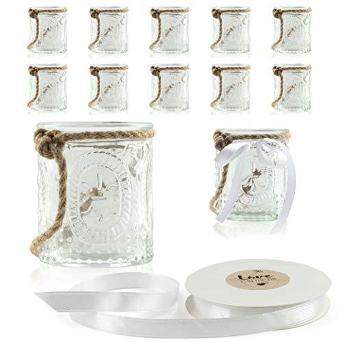 WeddingTree 12 x Windlicht Glas mit Bügel und Dekoband weiß Romantik klein - Teelichtgläser - 9 cm hoch - Einfach Abnehmbarer Metallbügel - Deko für Hochzeit