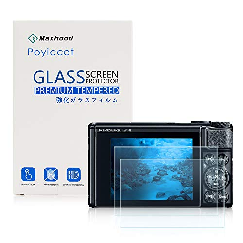For Canon Powershort SX740 Screen Protector Glass, Poyiccot 2pack Screen Protector 0.3mm Premium 2.5D Watch Tempered Glass Screen Protector Glass Film for Canon Powershort SX740 / SX730