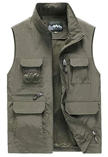 Flygo Mens Summer Outdoor Lightweight Travel Work Fishing Hiking Vest Jacket (X-Large, 02 Khaki)