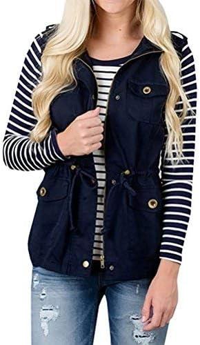 Nlife Women Casual Zipper up Military Jacket Vest Coat Stripe Tu