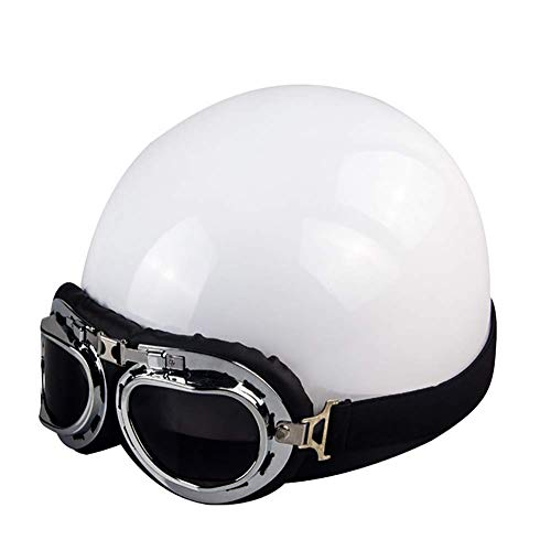 LALEO Retro Harley Offenes Motorradhelm, Jet-Helm, Roller-Helm, Damen und Herren ECE Genehmigt Schwarz, Blau, Pink, Weiß (54-60cm),White