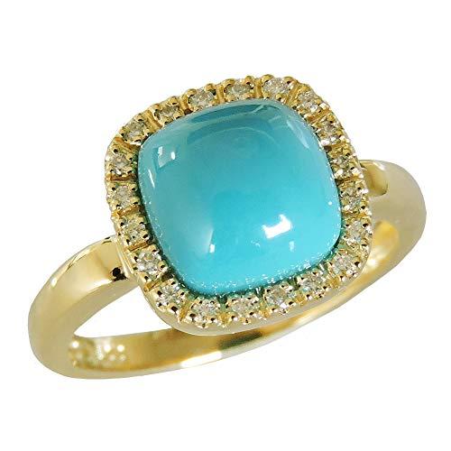 真珠の杜 ターコイズ トルコ石 K18 ゴールド ダイヤ取り巻きデザイン リング レディース 9号