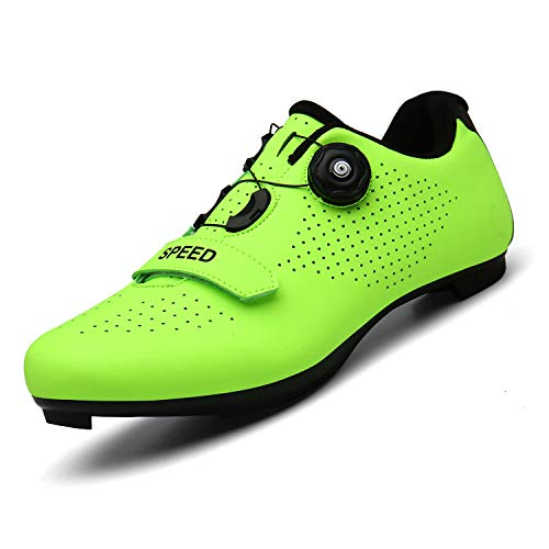 SANYES Men's Cycling Shoes Breathable Road Bike Mountain Bike SPD/SPD-SL Compatible Peloton Bike Indoor Spin Shoes SYQXX-Green-42