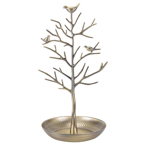 ChezMax Jewelry Display Necklace Earring Organizer Holder Metal Birds Tree Stand with Tray Antique Bracelet Rings Rack Tower Decoration for Women Girl Gold 118 Inch