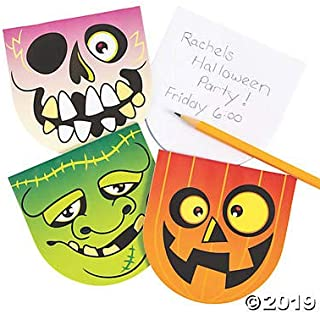 Fun Express 24 Halloween Notepads - 4 inch - 3 Assorted Halloween Characters Witch, Skull, Jack o Lantern